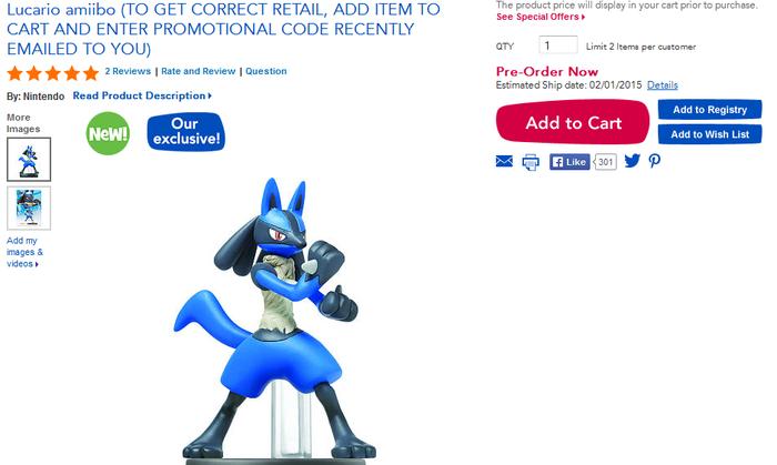 Lucario Amiibo Toys R Us Pre-Order Mishap - Pocketmonsters Net